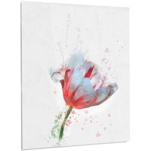 White flower painting wayfair beautiful red white flower painting print on metal mightylinksfo