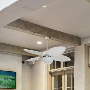 Palm ceiling fan with light wayfair 52 cosgrave palm tropical 5 blade outdoor led ceiling fan aloadofball Images