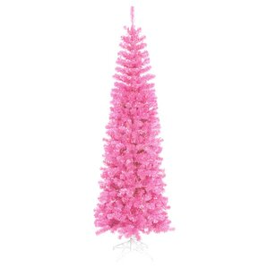 65 sparkling pink pencil artificial christmas tree with pink lights - Pink Christmas Tree
