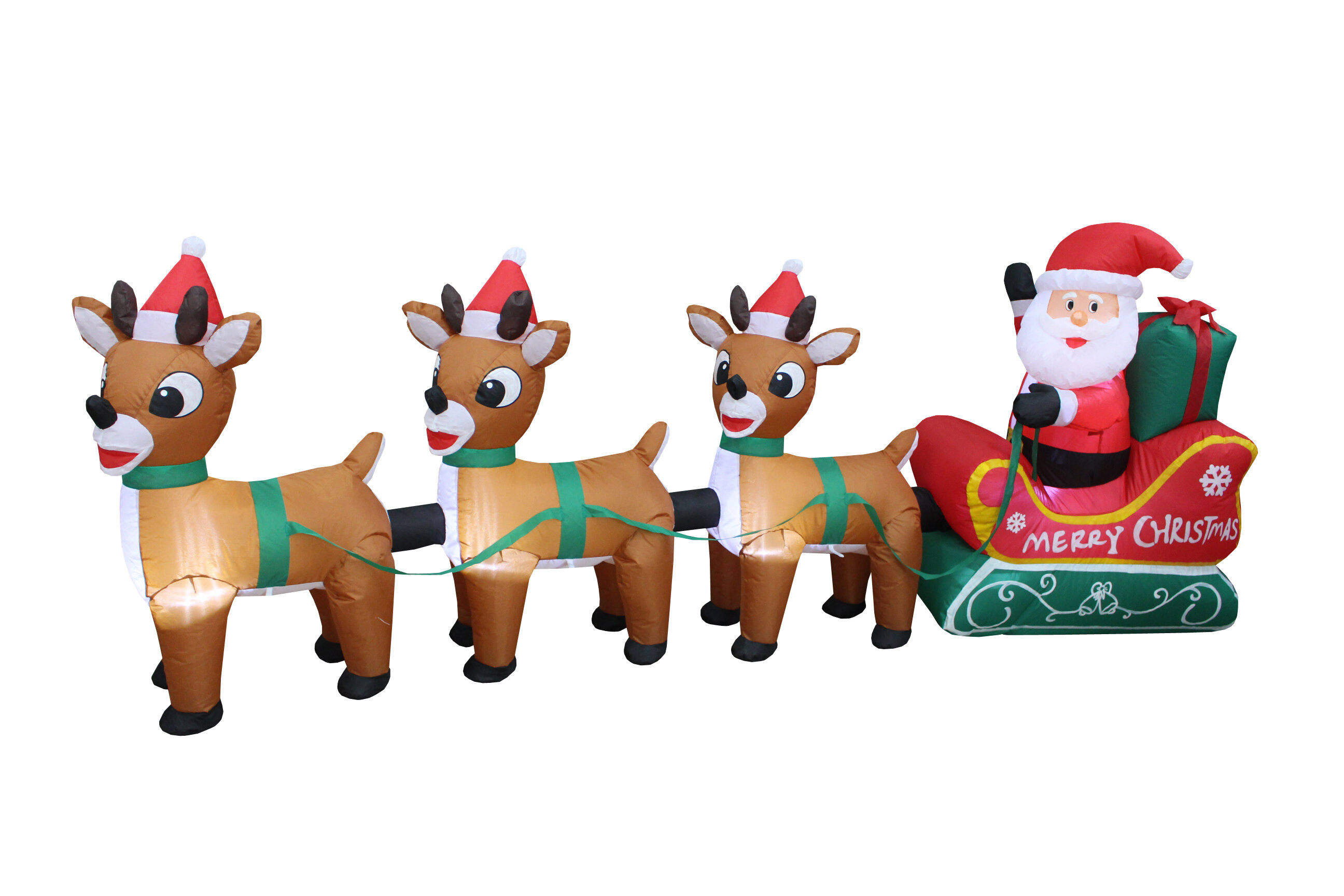a9516b9069 Santa Claus on Sleigh with Three Reindeer Christmas Inflatable