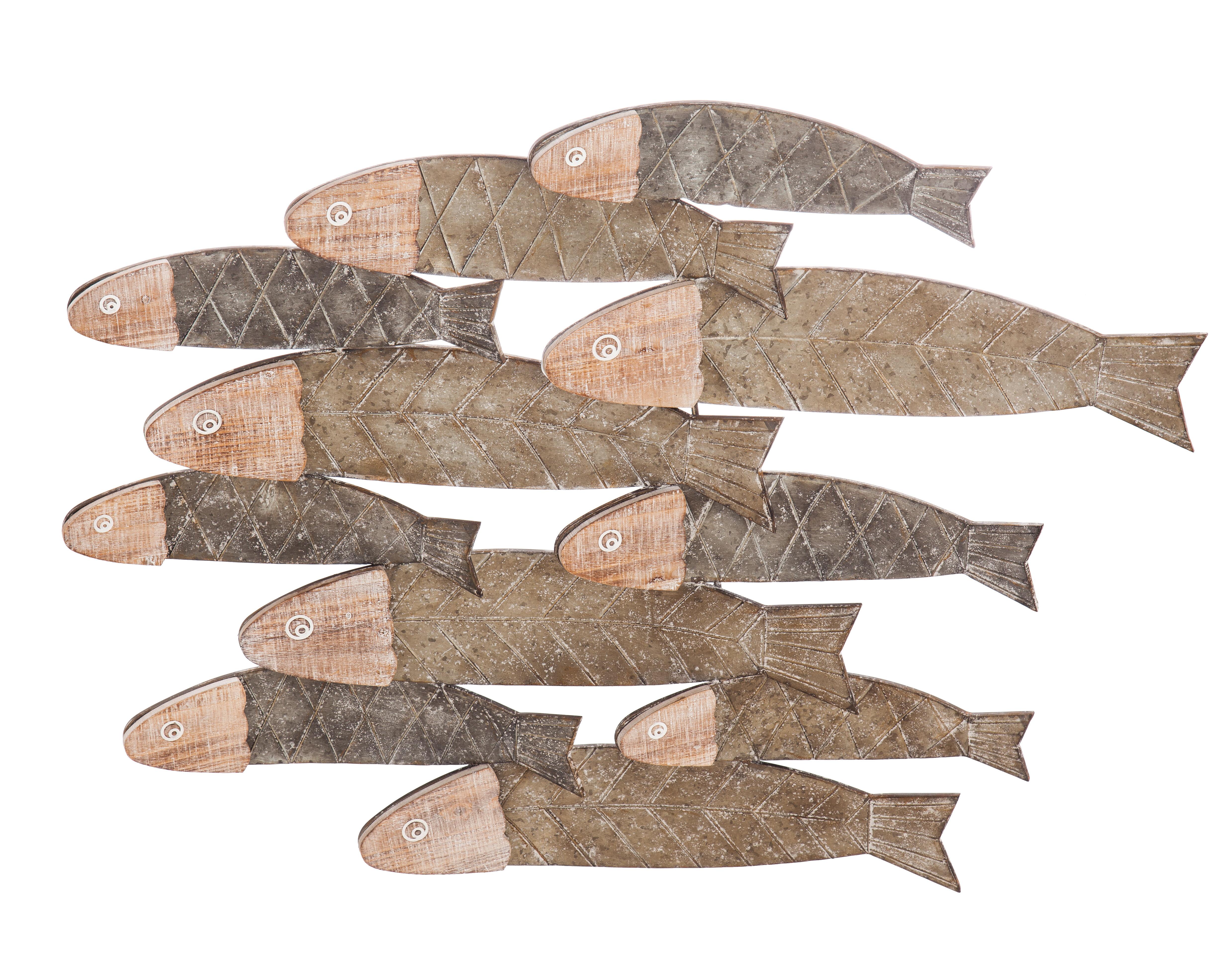 Bay isle home school of fish metal and wood wall décor wayfair