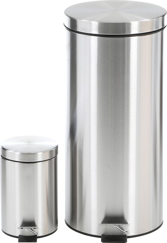 Wildon Home 2 Piece Stainless Steel 792 Gallon Trash Can Set