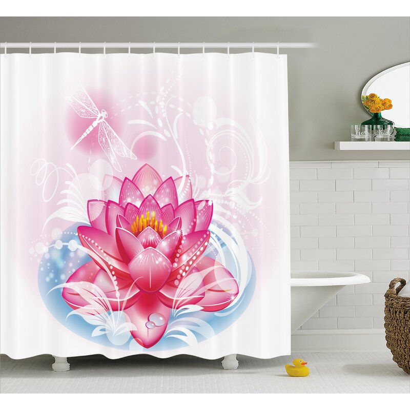 Deanna Mandala Decor Indian Yoga Theme Lotus Flower With Abstract Mantis And Dots Photo Single Shower