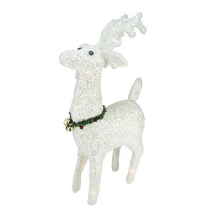 lighted white plush glittered reindeer christmas decoration - White Deer Christmas Decoration