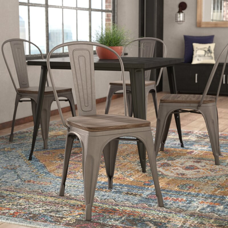 Trent Austin Design Linneus Industrial Metal Solid Wood Dining Chair ...