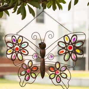 Iron Boho Beaded Butterfly Wall Du00e9cor