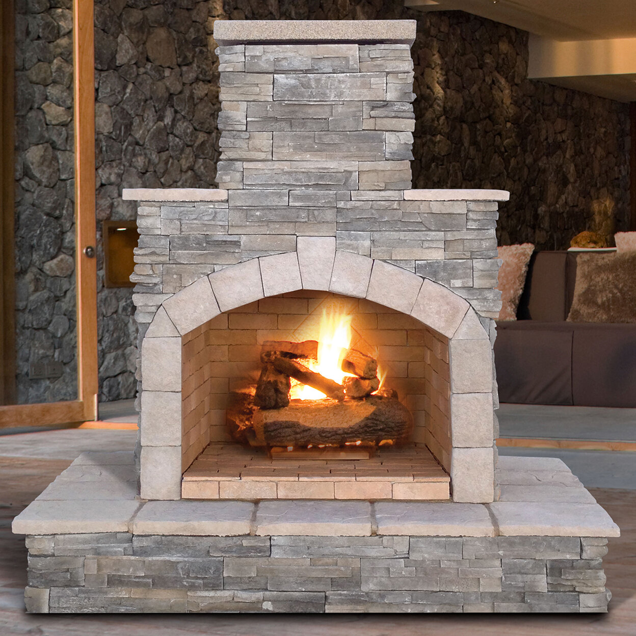 Stone Fireplace Next To The Outdoor Kitchen And A Lovely: Cal Flame Cultured Stone Propane / Gas Outdoor Fireplace