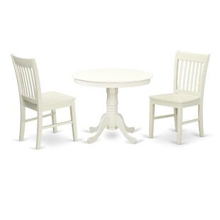 Malaki 3 Piece Breakfast Nook Solid Wood Dining Set