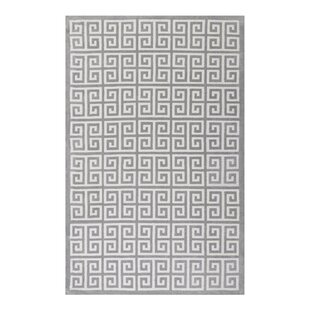 Selman Greek Key White Light Gray Area Rug
