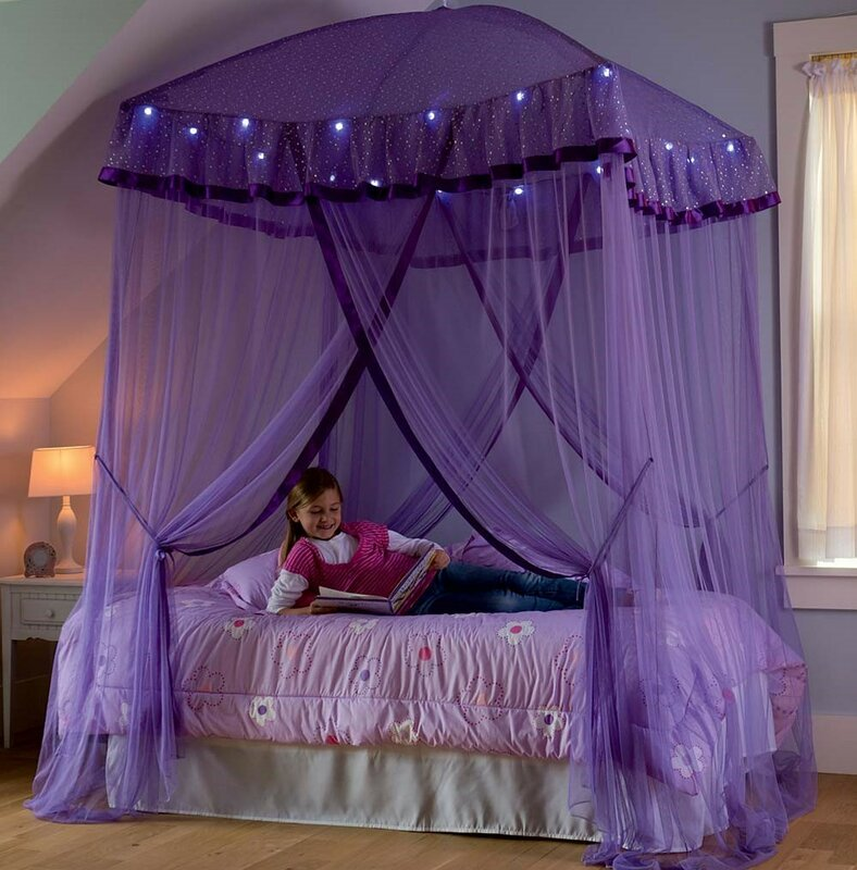 Bed Canopy With Lights hearthsong sparkling lights bed canopy & reviews | wayfair