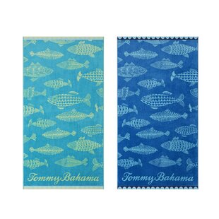 Fish Tommy Bahama 2 Piece 100% Cotton Beach Towel Set