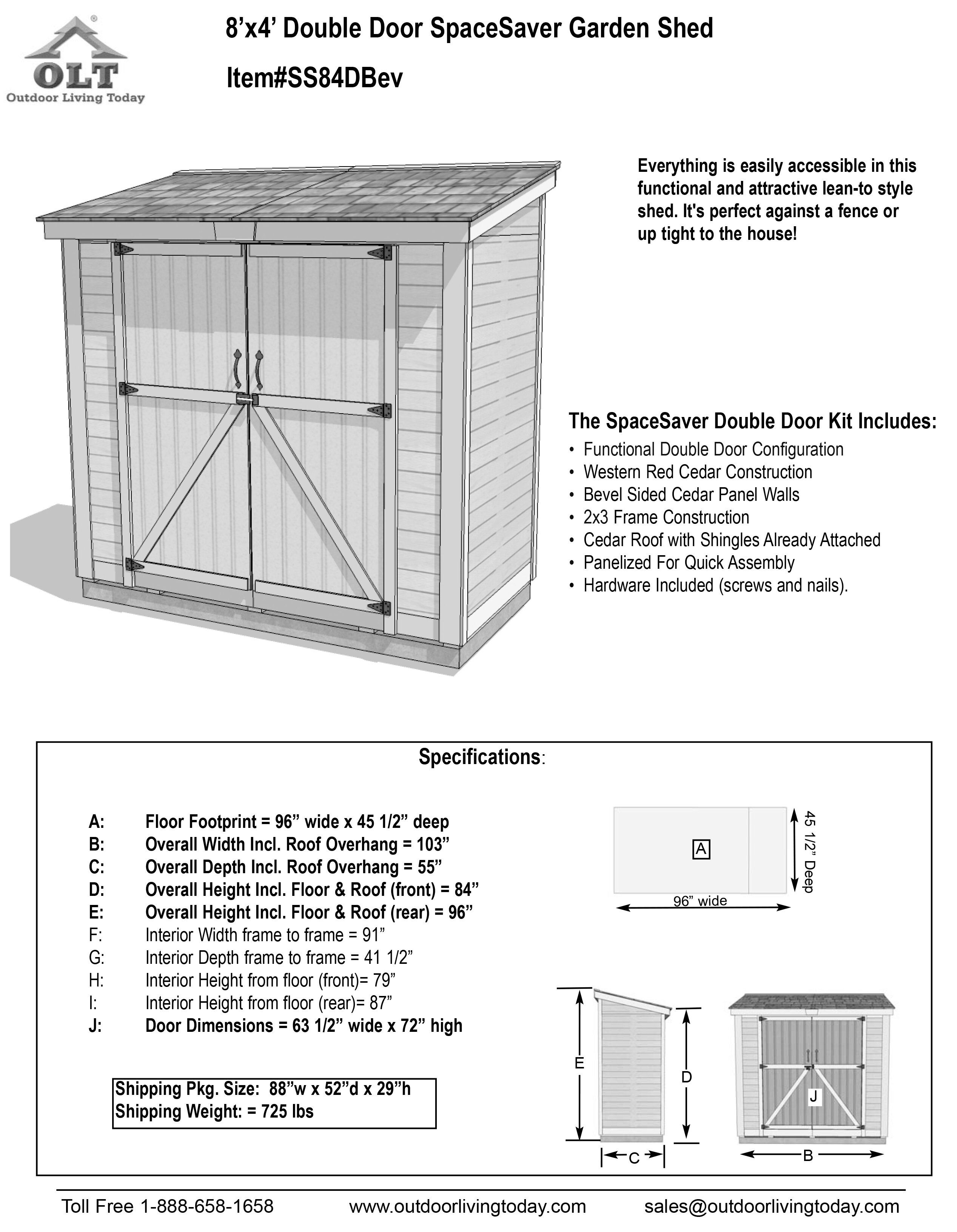 outdoor living today spacesaver 8 ft w x 4 ft d wooden lean to