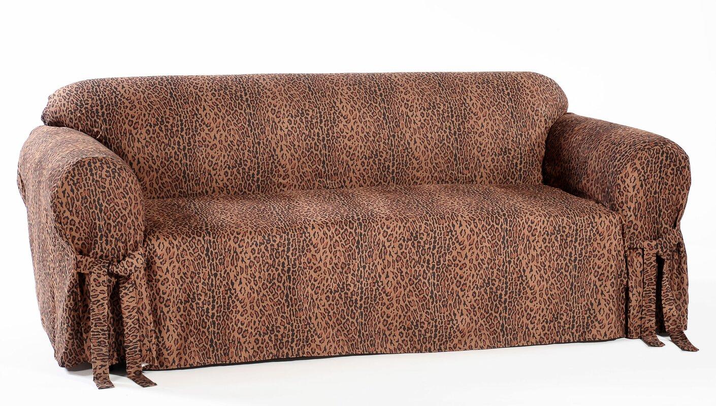 Amazing Leopard Print Box Cushion Sofa Slipcover