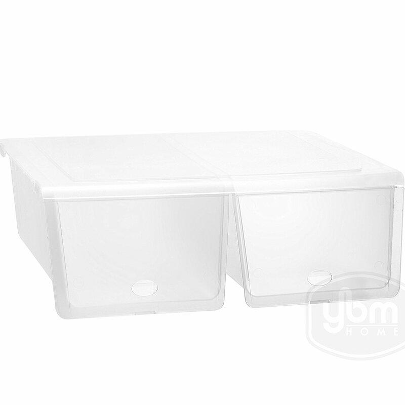 Closet Storage Organizer Double Shoe Box With Hinged Lid