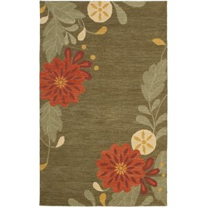 Picture Block Floral Hand-Tufted Pup Tent Area Rug