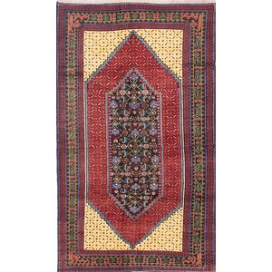 One-of-a-Kind Ghafkazi Hand-Knotted Red/Beige Area Rug