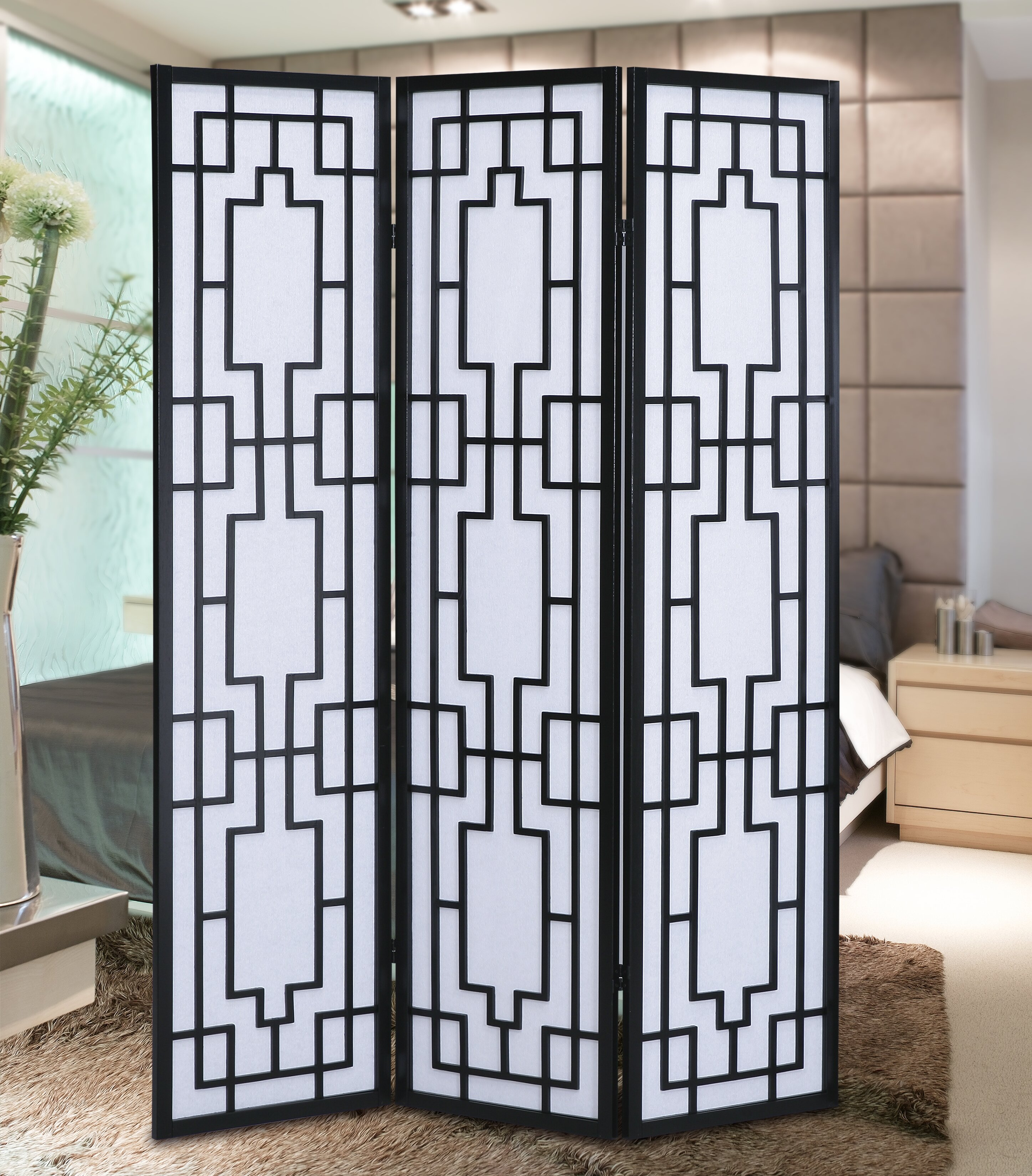 Roundhill Furniture Sudoku Screen 3 Panel Room Divider Reviews