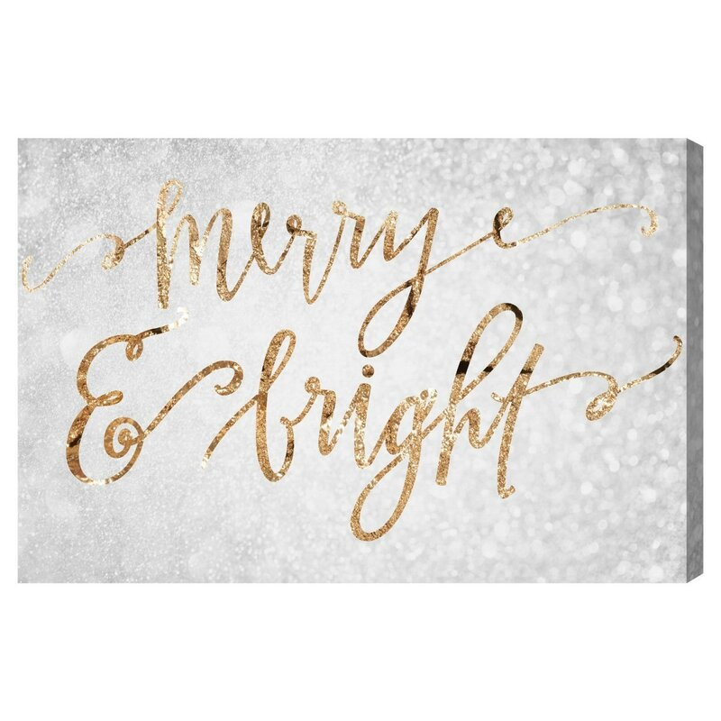 Merry & Bright Textual Art on Wrapped Canvas
