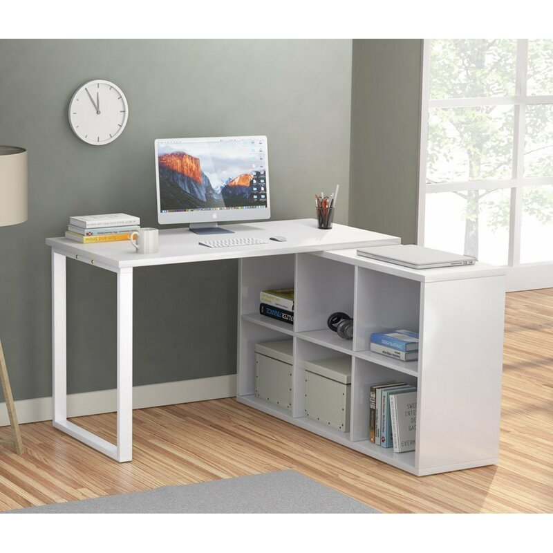 Beau Britni Modern Corner L Shape Desk With 6 Storage Unit Combo