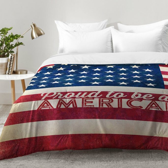 Fresh East Urban Home Proud To Be An American Flag Comforter Set  QN18