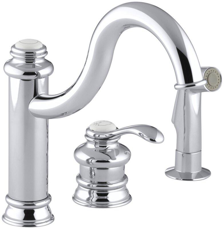 kohler fairfax three-hole remote valve kitchen sink faucet with 9