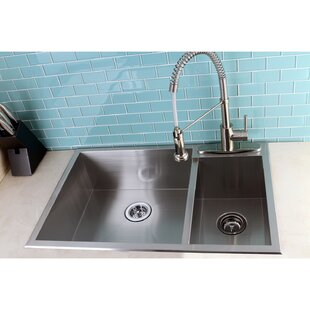 Uptowne 33 L X 22 W Self 70 30 Double Bowl Kitchen Sink