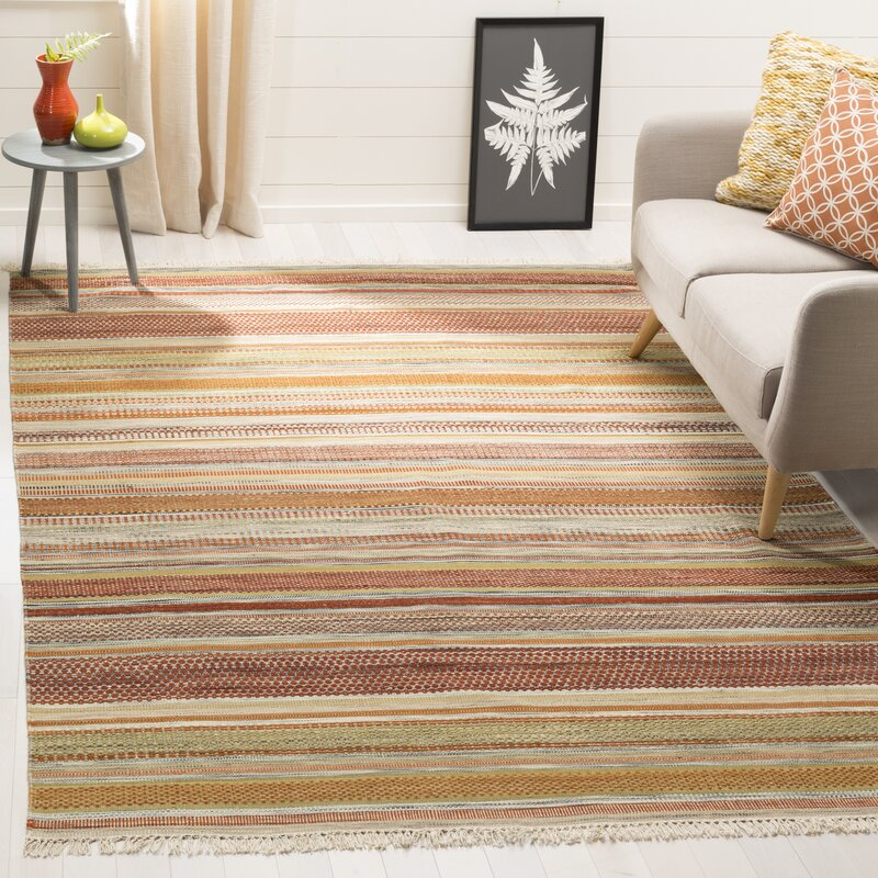Safavieh Striped Kilim Hand Woven Wool Brown Beige Area