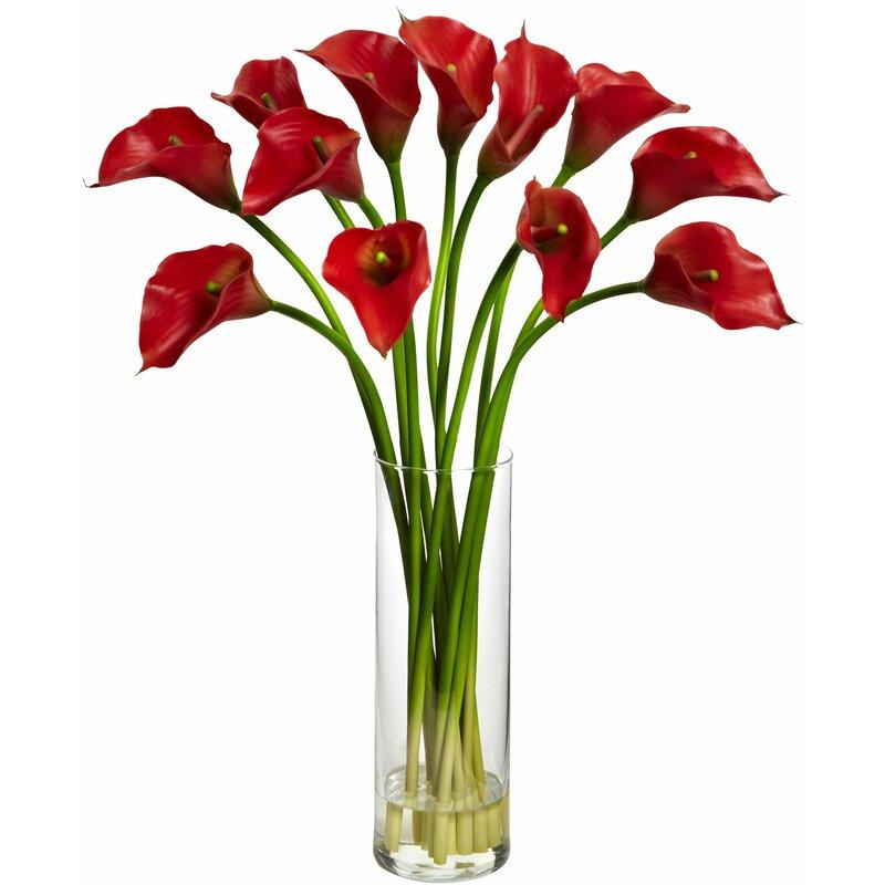 Mini Calla Lily Silk Flower Arrangement With Vase