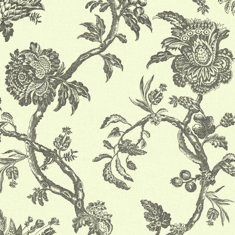 "Williamsburg II 27' x 27"" Arcadia Floral Texture Wallpaper"