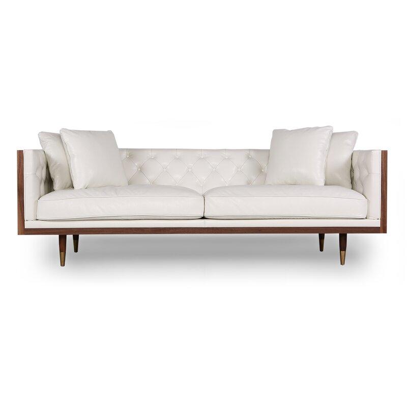 Kardiel Woodrow Kardiel Standard Neo Classic Midcentury Leather Sofa