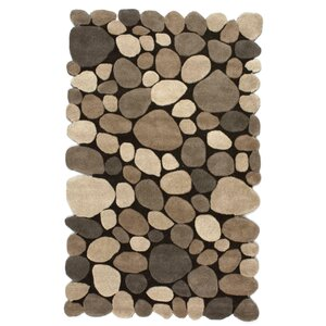 Alpert Pebbles Hand-Tufted Dark Brown Area Rug