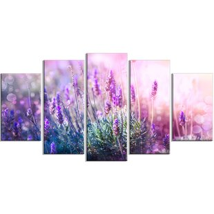 Growing And Blooming Lavender 5 Piece Wall Art On Wred Canvas Set