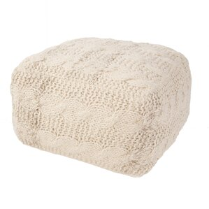 Romeo Solid Wool Pouf Ottoman by Bungalow Rose