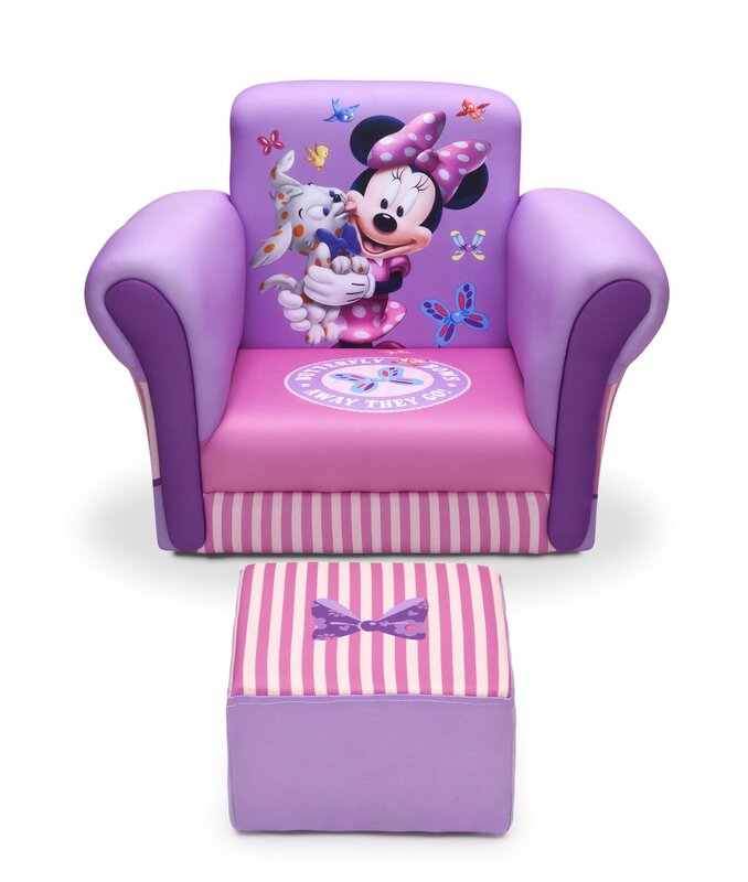 Amazing Minnie Mouse Upholstered Kids Club Chair And Ottoman Design Inspirations