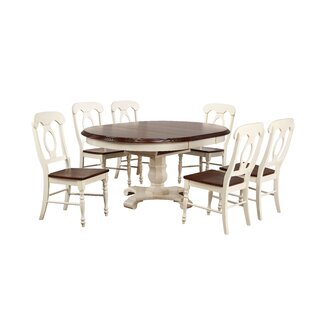Lockwood Butterfly Leaf 7 Piece Breakfast Nook Solid Wood Dining Set