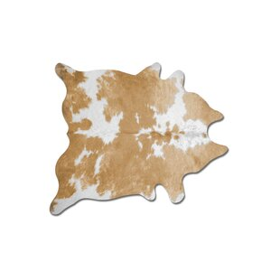 Batey Cowhide Tan/White Area Rug By Foundry Select