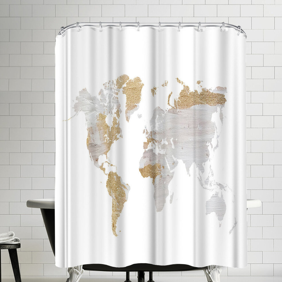 East Urban Home Ikonolexi World Map Shower Curtain