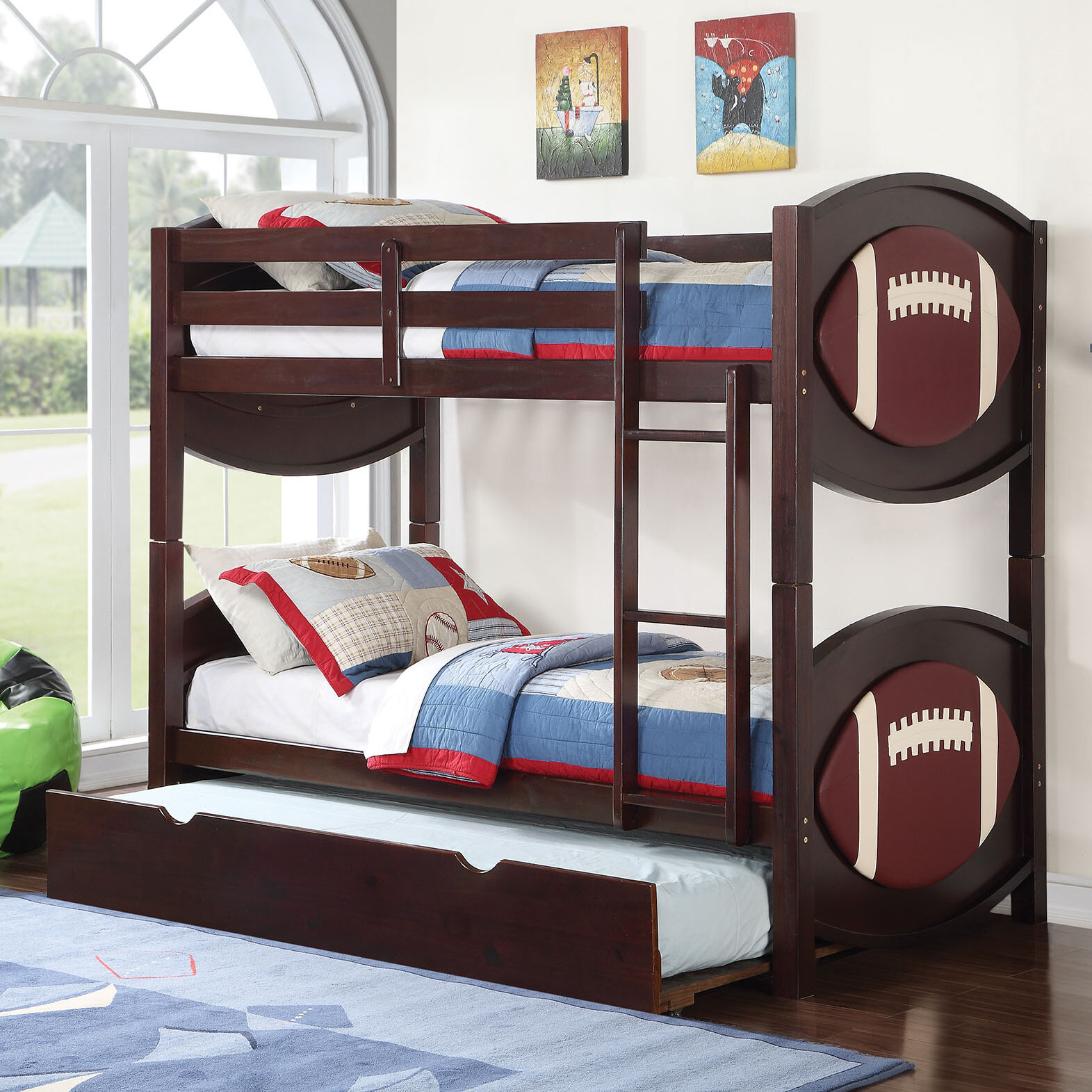 Harriet Bee Askov Football Twin Over Twin Bunk Bed With Trundle