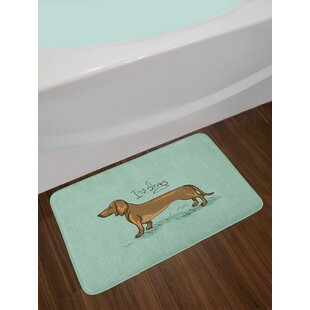 Ambesonne Dachshund Bath Mat By Puppy On An Abstract Turquoise Background Pure Breed Animal Plush Bathroom Decor With Non Slip Backing
