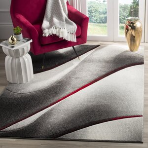Anne Gray/True Red Area Rug