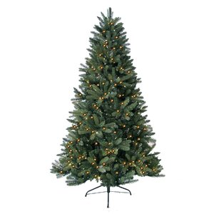 7' Green Highland Fir Artificial Christmas Tree with 450 LED Warm Lights and Metal Stand