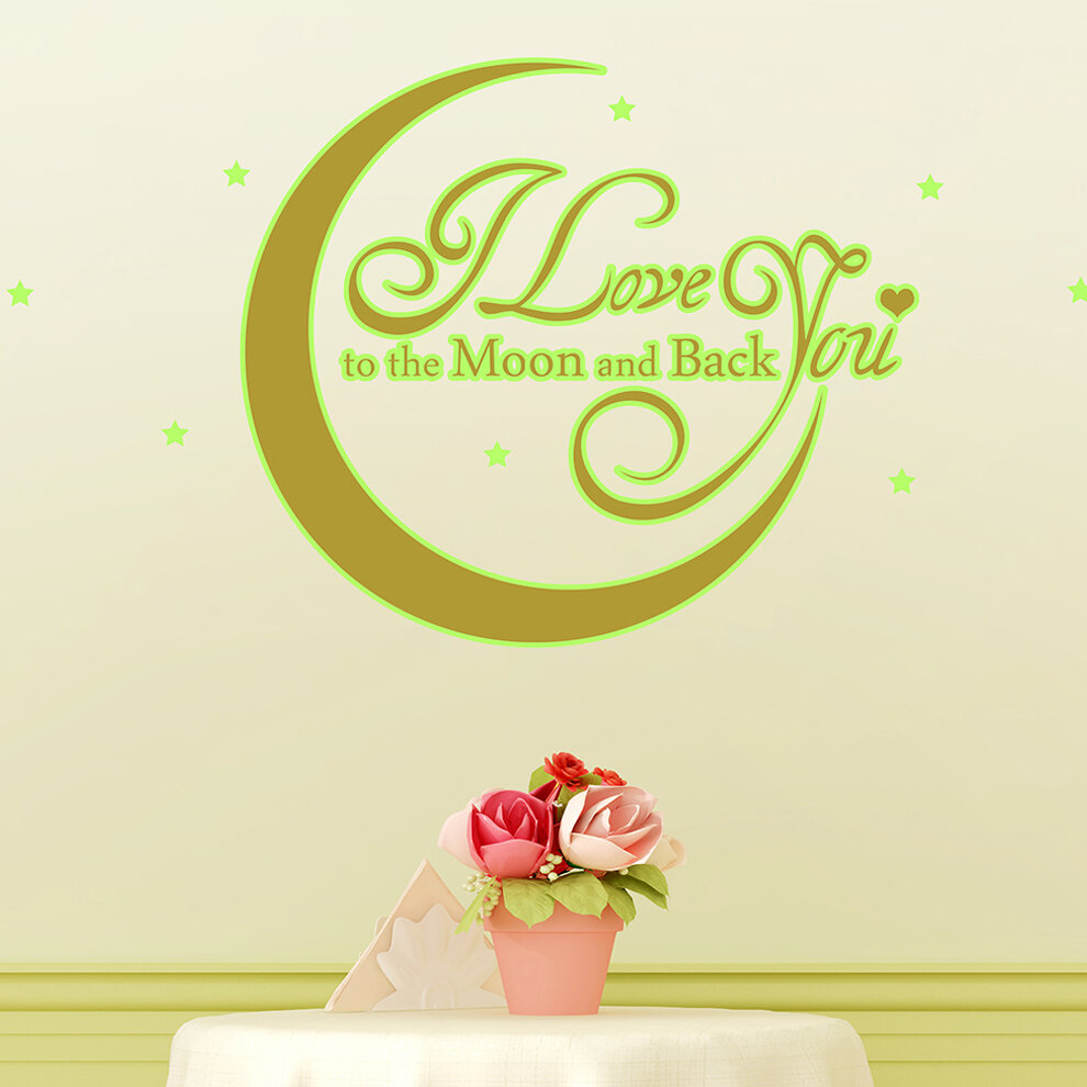 Ebern Designs Love You Quote Moon Wall Decal   Wayfair