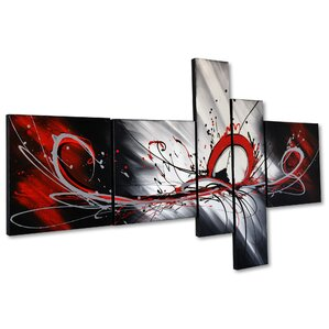 'Splash Abstract' 5 Piece Painting on Canvas Set. '