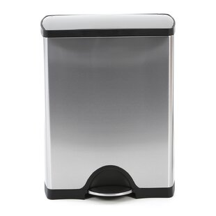Charming 12.5 Gallon Rectangular Step Trash Can, Dual Compartment Recycler, Brushed  Stainless Steel