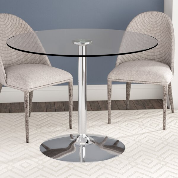 Wade Logan Cavell Round Glass Dining Table Reviews Wayfair