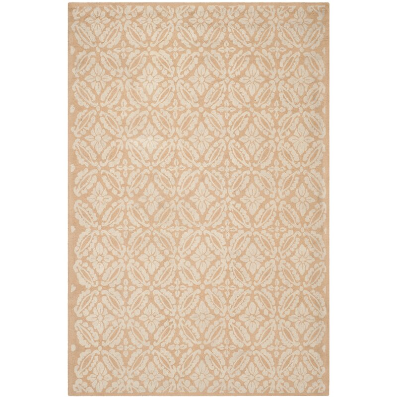 Alcott Hill Baytown Hand-Hooked Wool Gold/Ivory Area Rug, Size: Rectangle 79 x 99