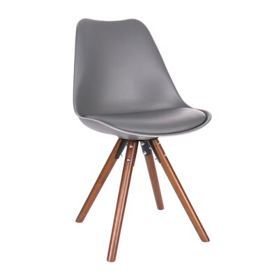 George Oliver Beyers Upholstered Dining Chair Leg Color: Walnut, Upholstery Color: Grey