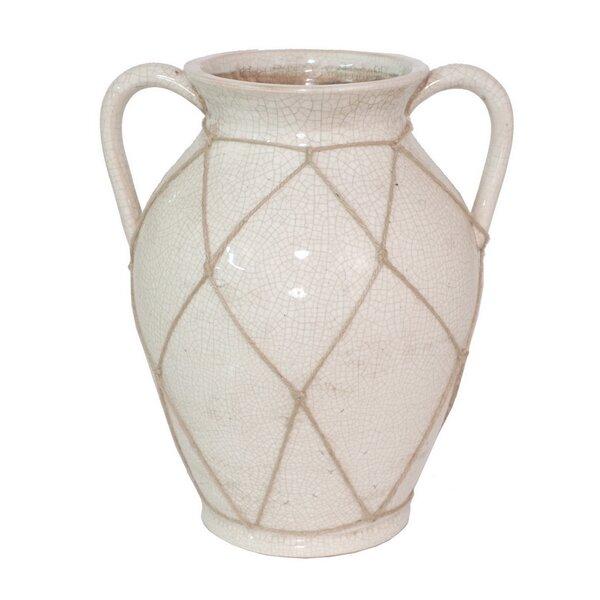 One Allium Way White Ceramic Table Vase With Handles Wayfair