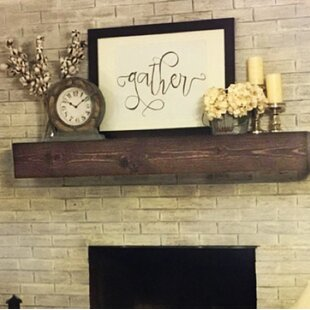 Brown mantel shelf