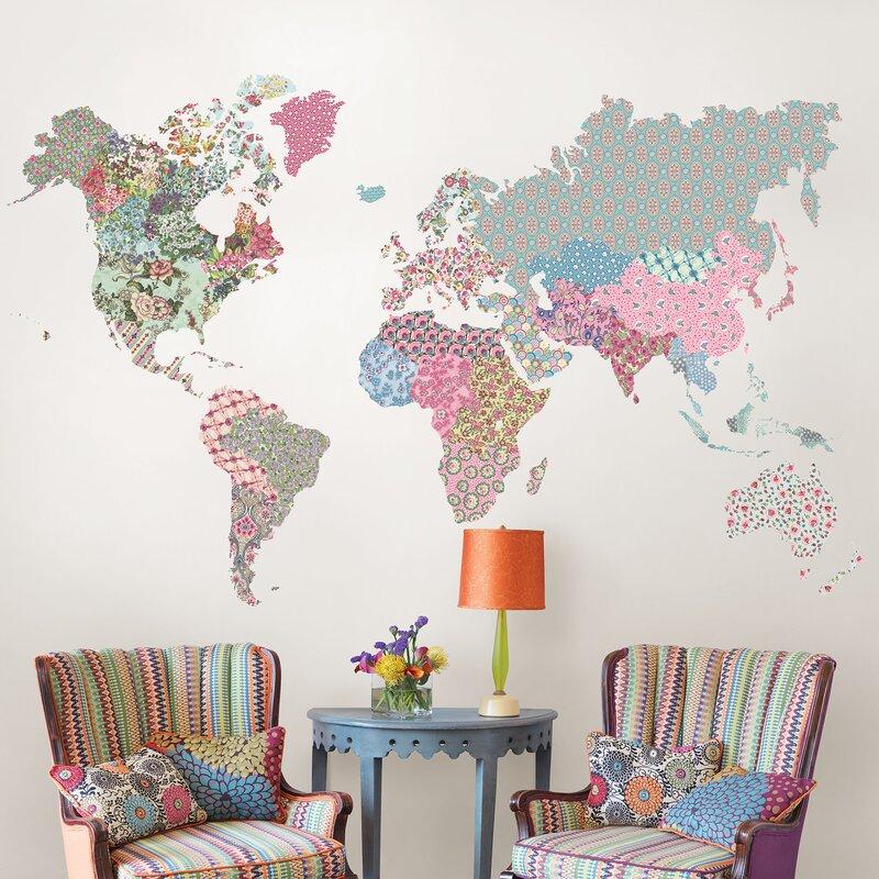 Boho World Map Wall Decal